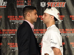 Paulie Malignaggi - Khan (left) and Malignaggi at a press conference on March 17, 2010.