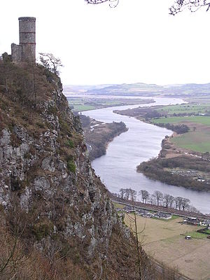 Kinnoull Hill -  Kinnoull Hill's tower, with the meandering River Tay in the background