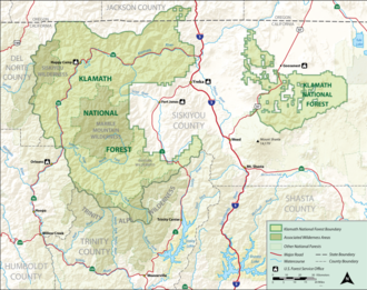 Klamath National Forest - Map of the Klamath National Forest