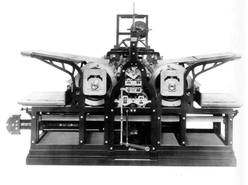 Koenig's 1814 steam-powered printing press (Wikimedia)