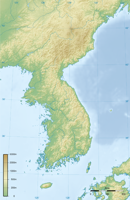 Topografic cairt o the Korean Peninsula