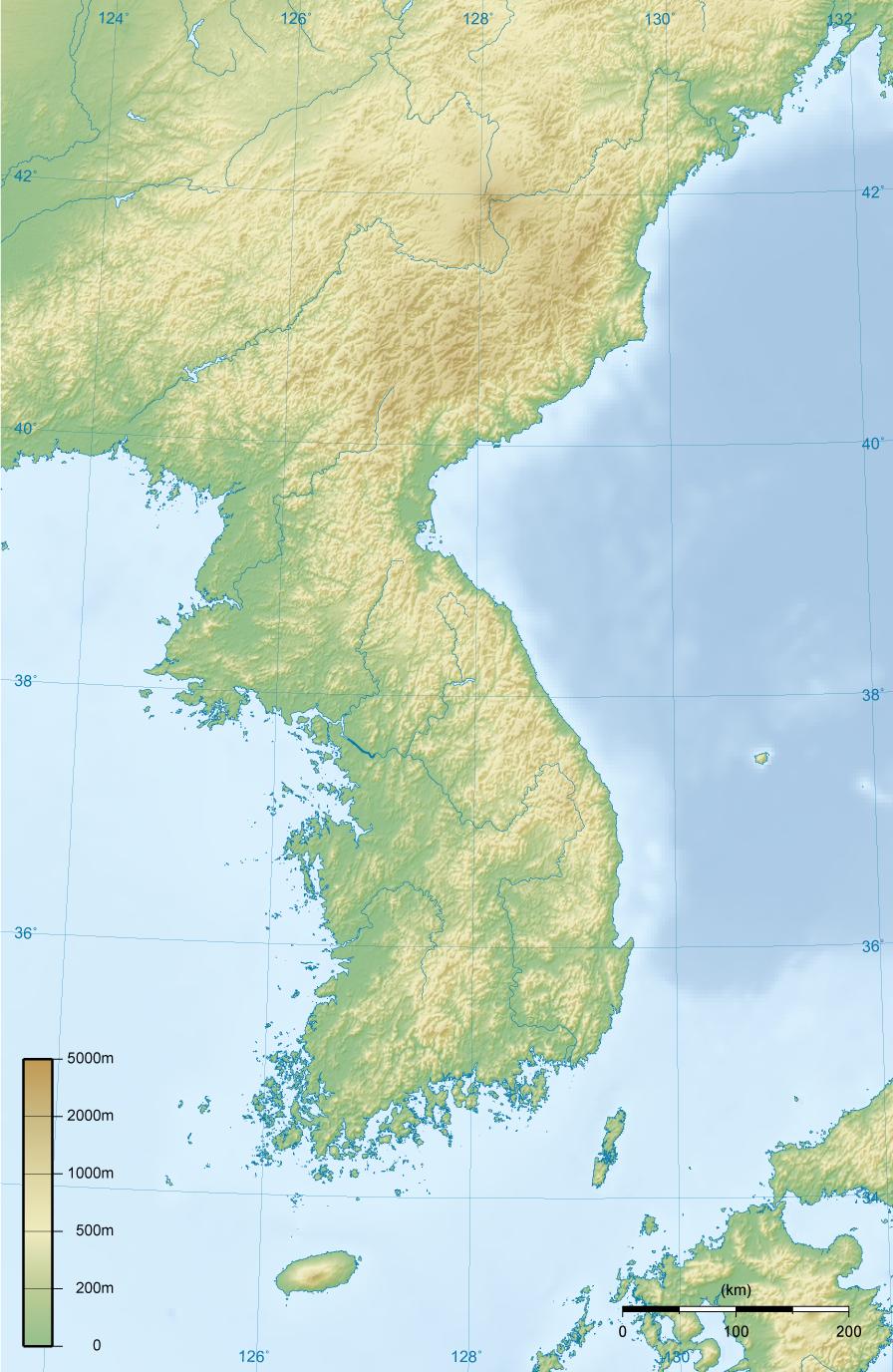 Korean Peninsula topographic map