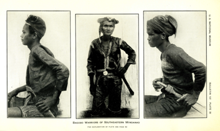 A 1926 photograph of Bagobo (Manobo) warriors Krieger 1926 Philippine ethnic weapons Plate 20.png