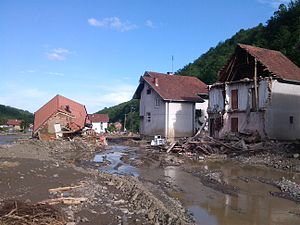 2014 Southeast Europe floods - Destruction of Krupanj by a flood