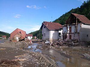 2014 Southeast Europe floods - Destruction of Krupanj by a flood