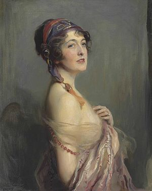 "Wilfrid Ashley, 1st Baron Mount Temple - Portrait of Mrs Wilfrid Ashley, née Muriel (""Molly"") Forbes-Sempill by Philip de László."