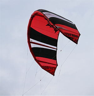 A LEI (Lead Edge Inflatable) kite used for kit...