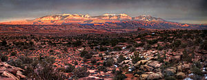 La Sal Mountains - The La Sals at Sunset from Gemini Bridges Road