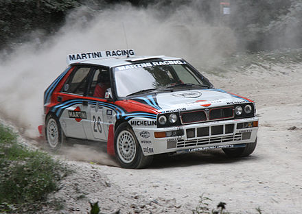 Group A Lancia Delta HF Integrale. Lancia is the manufacturer with the most wins in the WRC: 11 world Championship for Manufacturers, with 6 consecutives. Lancia Delta Integrale - Flickr - exfordy (1).jpg
