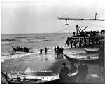Landing boat on the beach at lightering operation, Nome, August 22, 1904 (NOWELL 46).jpeg
