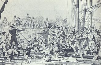 Liberal Wars - Landing of the liberal forces in Pampelido, north of Porto, 8 July 1832