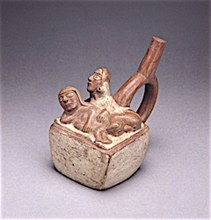 Man and woman having anal sex. Ceramic, Moche Culture.