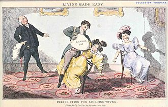 "Nitrous oxide - ""LIVING MADE EASY"" A satirical print from 1830 depicting Humphry Davy administering a dose of laughing gas to a woman"
