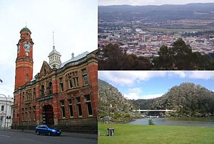 Launceston, Tasmania - Montage of Launceston. Clockwise from left – Launceston Post Office, View of the CBD and inner suburbs from Woods Reserve and Cataract Gorge and Alexandra Suspension Bridge