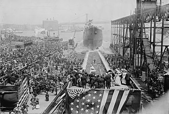 USS Vestal - The launching of USS Vestal from the Brooklyn Navy Yard on 19 May 1908