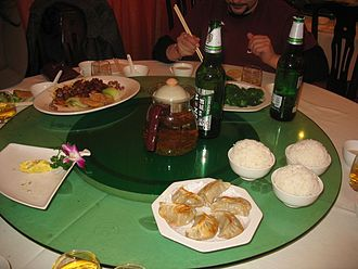 Customs and etiquette in Chinese dining - A lazy Susan in use