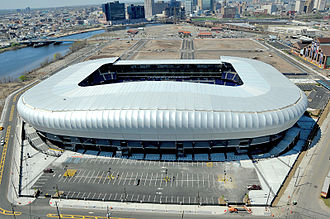 Red Bull Arena (New Jersey) - Aerial view of the arena and downtown Newark in the background.