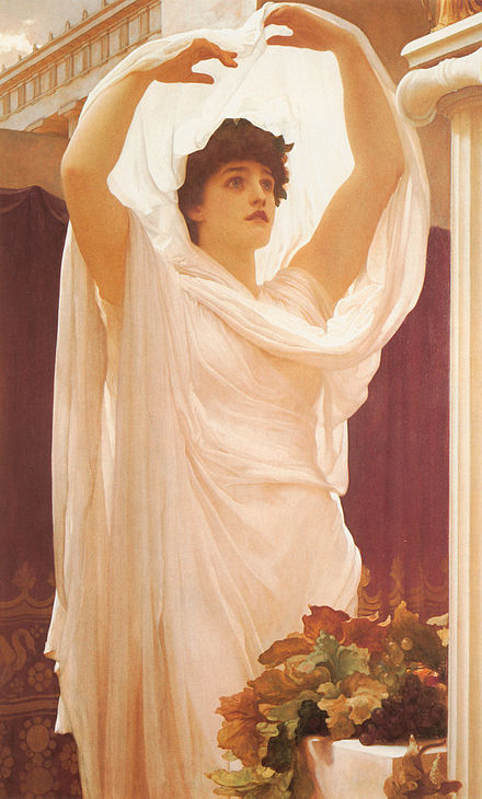 A Roman woman, attired as a Priestess of Vesta, performing sacred rites. Invocation Frederic Leighton (1830-1896) Leighton, Frederic - Invocation.jpg