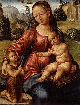 Paolo da San Leocadio - Madonna with child and John the Baptist, painting now in the Museu de Belles Arts de València, c.1510