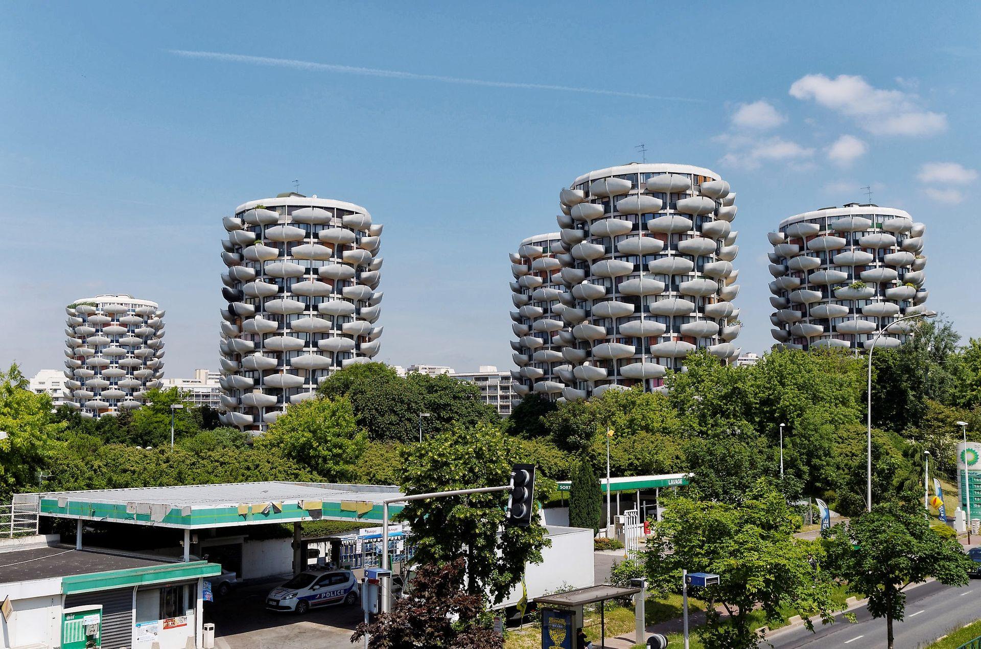 Les Choux de Créteil, réalisés par l'architecte brutaliste Gérard Granval