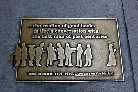 """...the reading of good books is like a conversation with the best men of past centuries–"" (apocryphal quote) Library Walk 28.JPG"