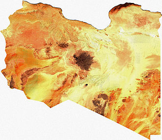 Sarir field - Satellite image of Libya, generated from raster graphics data supplied by The Map Library