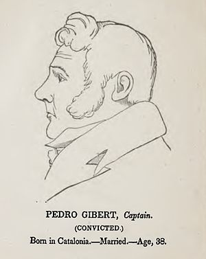 Pedro Gilbert - Likeness made of Spanish pirate Pedro Gibert during his trial before the U.S. Circuit Court