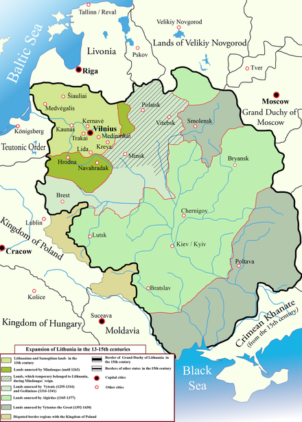 Changes in the territory of Lithuania from the 13th to 15th century. At its peak, Lithuania was the largest state in Europe. Lithuania's strength was its toleration of various cultures and religions. Lithuanian state in 13-15th centuries.png