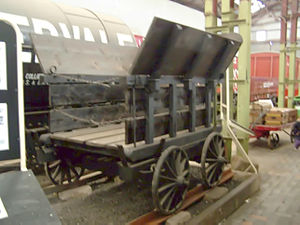 "Wagonway - A replica of a ""Little Eaton Tramway"" wagon, the tracks are plateways"