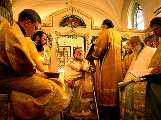 Divine Liturgy of Saint James - Orthodox bishop Longin (Talypin), holding his paterissa (crozier), presiding over a celebration of the Liturgy of St. James in Düsseldorf, Germany.
