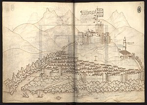 Castle of Mertola - A drawing of the castle from the Book of Fortresses by Duarte das Armas