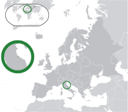 Ibùdó ilẹ̀  San Màrínò  (green) on the European continent  (dark grey)  —  [Legend]