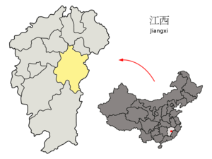 Location of Fuzhou within Jiangxi
