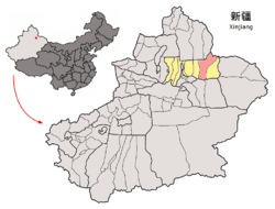 Location of Qitai (pink) in Changji Prefecture (yellow) and Xinjiang
