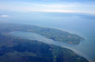 Loch Ryan - Aerial view of Loch Ryan looking southwestwards; across the north channel of the Irish Sea towards Belfast Lough