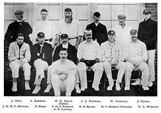 Hesketh Hesketh-Prichard - Hesketh-Prichard (front row, 2nd right) with London County, 1903. W.G. Grace is centre-rear.