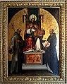Lorenzo Costa, San Petronio in trono fra i ss. Francesco e Domenico (1502) 01.jpg