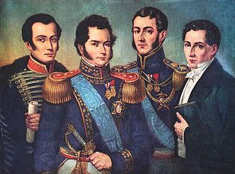 Legion of Merit of Chile - Bernardo O'Higgins (centre left) and José de San Martín (centre right) wearing the insignia of Grand Officers of the Legion of Merit of Chile