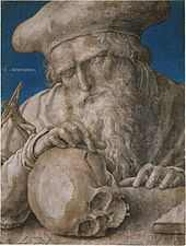 St. Jerome momento mori drawing of skull by Lucas van Leyden