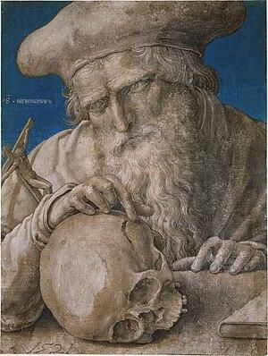 Human skull symbolism - St. Jerome, by Lucas van Leyden