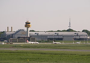 Hamburg Airport - Facilities of Lufthansa Technik at Hamburg Airport with the Heinrich-Hertz-Turm in the far distance
