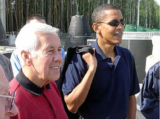 Richard Lugar - Richard Lugar with then-Senator Barack Obama in August 2005 near Perm, Russia