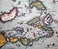 """Luzon is missing in the Philippines and all islands are somewhat distorted -- to get a sense of the map's detail consider that the distance from """"Manado"""" on Borneo to """"Manadu"""" on Celebes measures just 6 cm actual size.jpg"""
