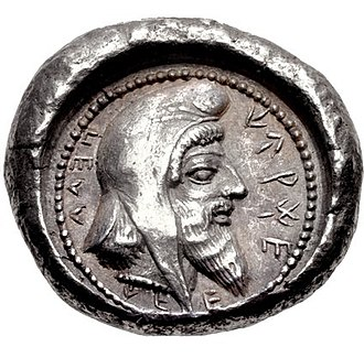 Bashlyk - Lycia Lycian dynast Kherei (4th century BCE), wearing a bashlik.