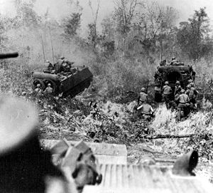 Operation Junction City - The US infantry enjoyed advantages in mechanization over the Viet Cong forces encountered, including the M113 and in certain locales, full battle tanks.