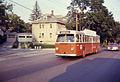 MBTA trolleybus in Belmont in 1967.jpg
