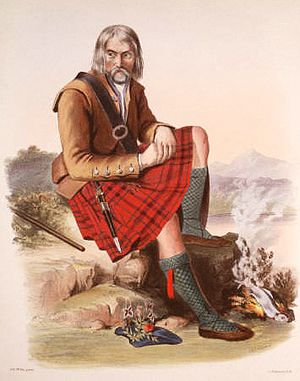 Clan MacFarlane - A Victorian era, romanticised depiction of a member of the clan by R. R. McIan, from The Clans of the Scottish Highlands, published in 1845.
