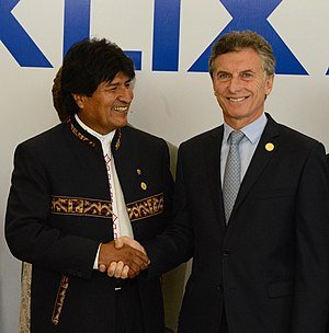 Argentina–Bolivia relations - Bolivian president Evo Morales and Argentine president Mauricio Macri.
