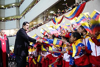 Chavismo - Nicolás Maduro with supporters at Maduro's second inauguration on 10 January 2019