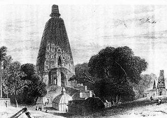 History of Buddhism in India - Mahabodhi Temple before restoration, Bodh Gaya, 1780s'